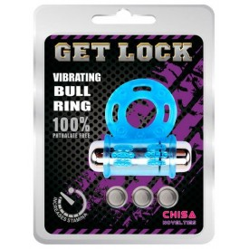 Голубое эрекционное виброкольцо Get Lock