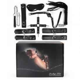 Большой черный набор БДСМ: наручники, оковы, ошейник с поводком, кляп, маска, плеть, фиксатор